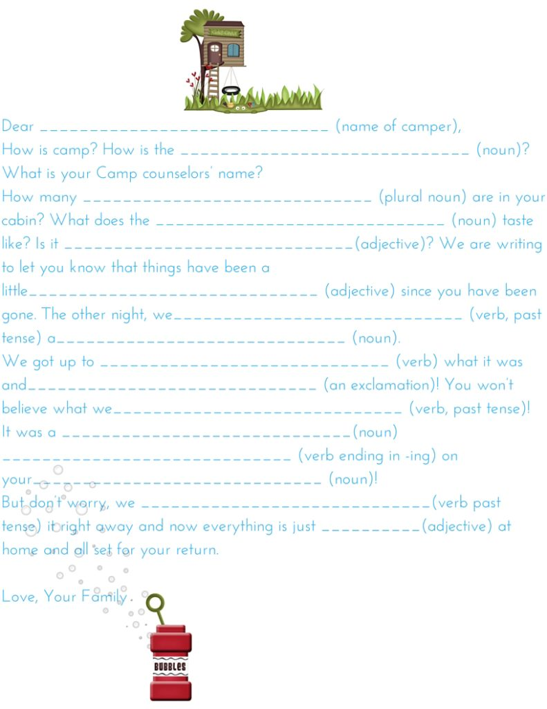 Camp Letter Mad- Lib